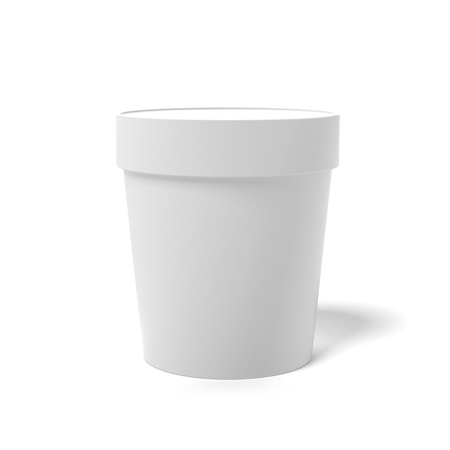 White closed container isolated on a white background photo