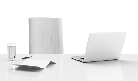Office desk isolated on a white background photo