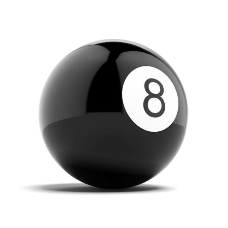 bola ocho: Billar bola ocho aislada en un fondo blanco