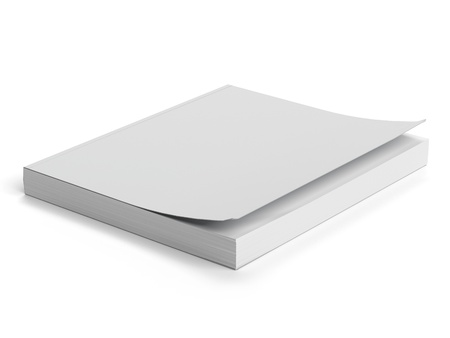 paperback: White paperback isolated on a white background