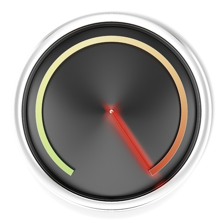 kph: Black Speedometer isolated on a white background