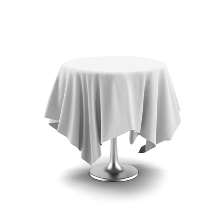 table linen: White round table and cloth isolated on a white background