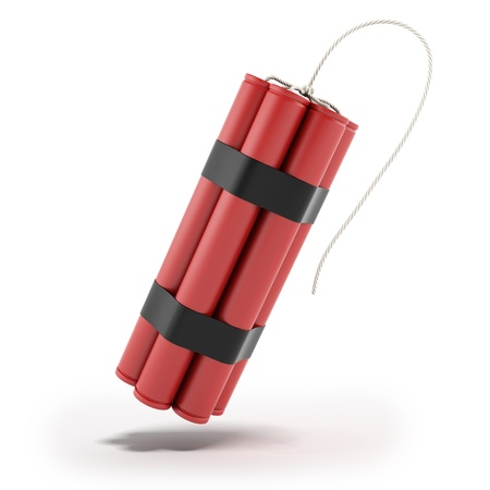 detonate: Red Dynamite isolated on a white background Stock Photo