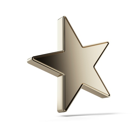 jewell: Gold star isolated on a white background Stock Photo