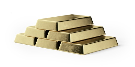 Gold bars isolated on a white background Stock Photo - 17082362