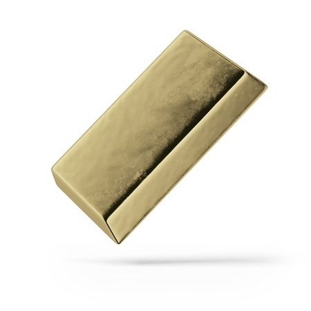 Bullion Of Gold isolated on a white background Stock Photo