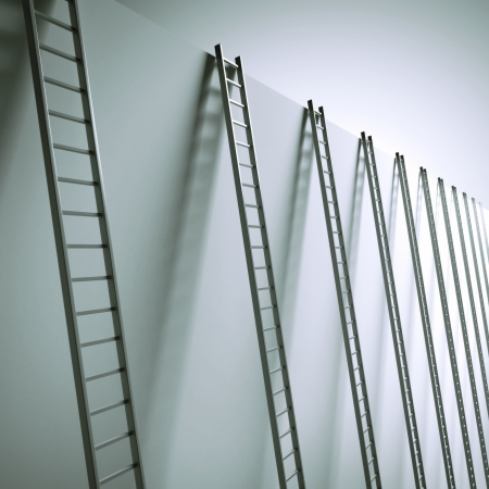 Ladders along the wall isolated on a white background photo