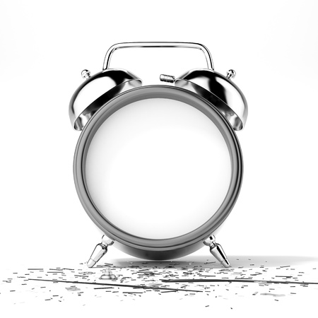 stopped: Broken clock isolated on a white background Stock Photo