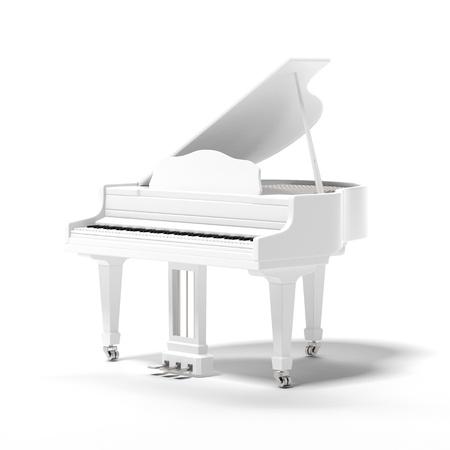piano de cola: Blanco clásico piano de cola aislado en un fondo blanco Foto de archivo
