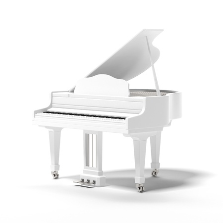 acoustically: White classic grand piano isolated on a white background