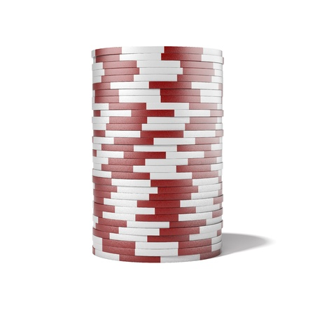 Red casino chips isolated on a white background Stock Photo - 17125679