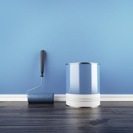 peintre en b�timent: Peinture d'un mur bleu vide 3d render Banque d'images
