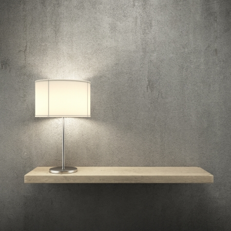 wood shelf: bookshelf on the wall with lamp  3d render