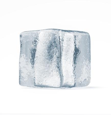 cubos de hielo: Cubo de hielo aislado en un fondo blanco Foto de archivo
