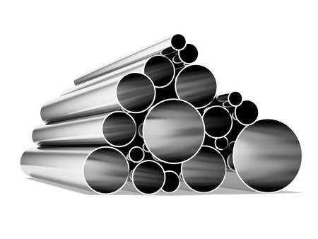 Metal tubes isolated on a white background photo