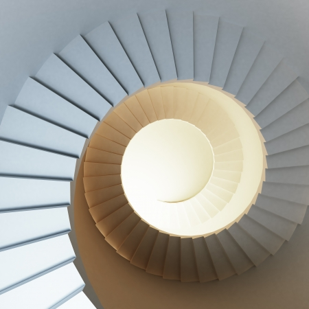 Spiral Staircase with cold and warm lights photo