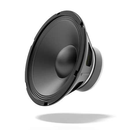 Black speaker isolated on a white background Stock Photo