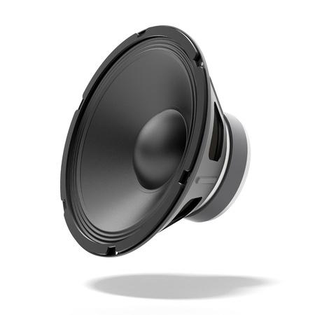 sub woofer: Black speaker isolated on a white background Stock Photo