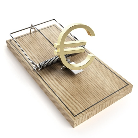 Wooden mouse trap with euro sign photo
