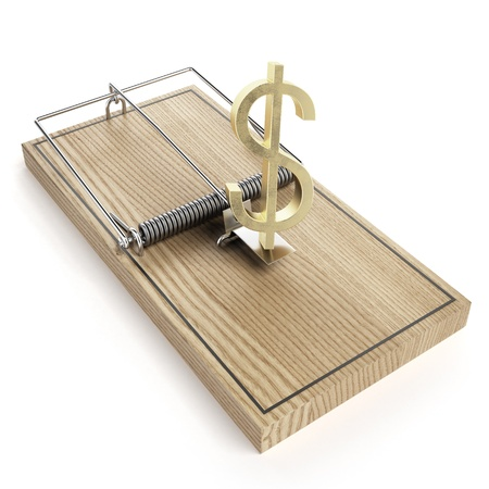 Wooden mouse trap with dollar sign photo