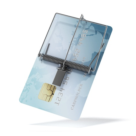 booby: Credit card as mousetrap Stock Photo