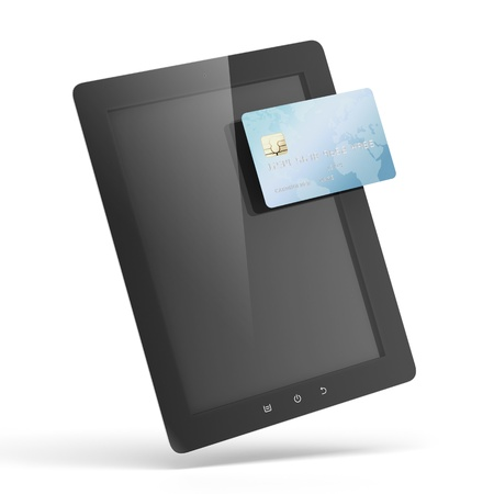 Tablet pc with a credit card Stock Photo - 17970728
