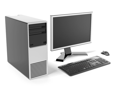 computer equipment: Modern black desktop computer