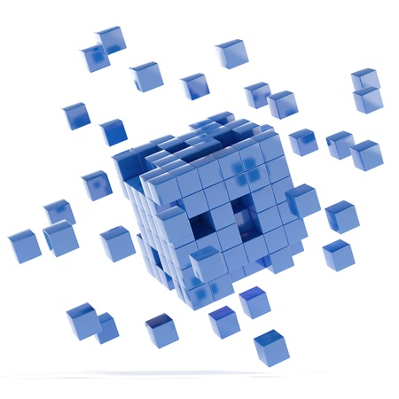 disorganization: Blue cubes Stock Photo