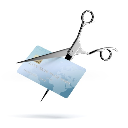 Scissors Cutting up a Credit Card photo
