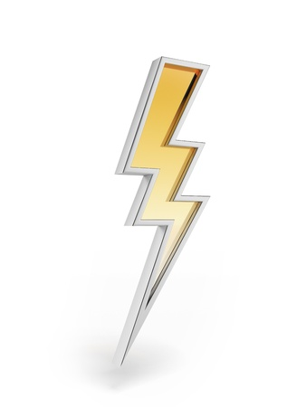 3d lightning: Powerful lighting symbol  Stock Photo
