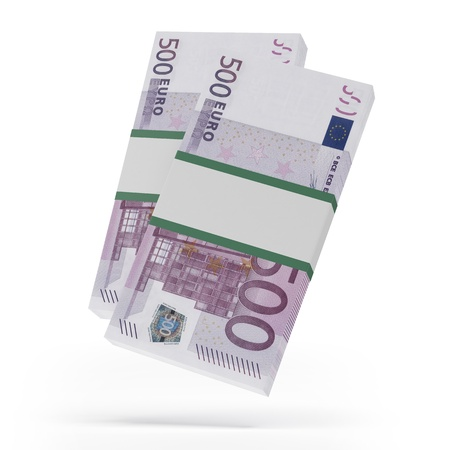 batch of euro: Packets of 500 Euro notes Stock Photo