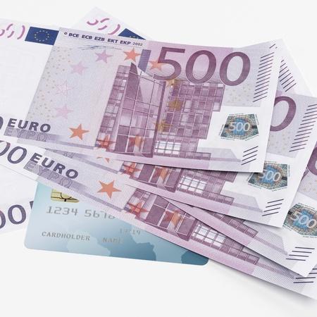 Credit card and Euro banknotes Stock Photo - 17970780