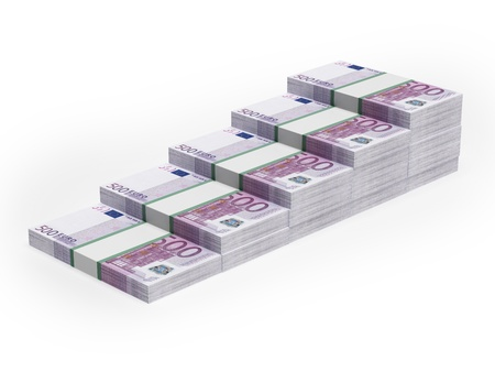 money stacks: Bar chart from different Euro banknotes