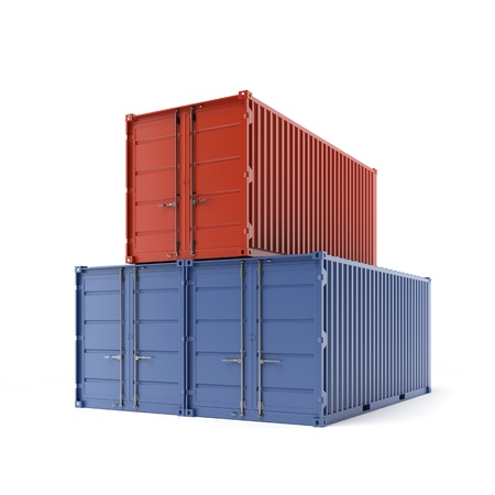 seafreight: Three freight containers Stock Photo