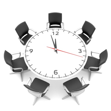 conference meeting: round table with a large clock face
