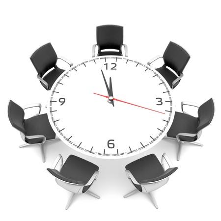 table ronde avec un grand cadran de l'horloge Banque d'images