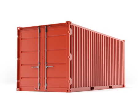 container ship: Red container