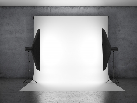 Dark photo studio with lighting equipment  photo