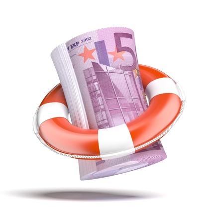 lifebouy: Lifebouy with euro Stock Photo
