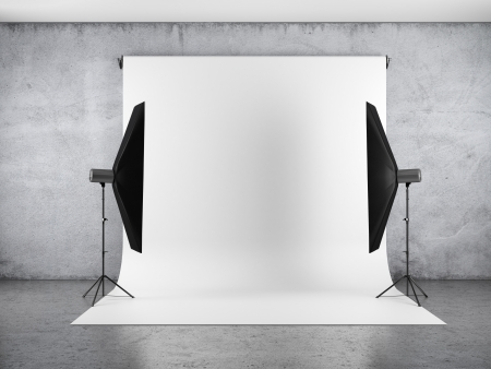 photo backdrop: Blank backdrop and two softboxes