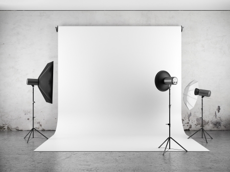 photo studio background: Empty photo studio with lighting equipment  Stock Photo