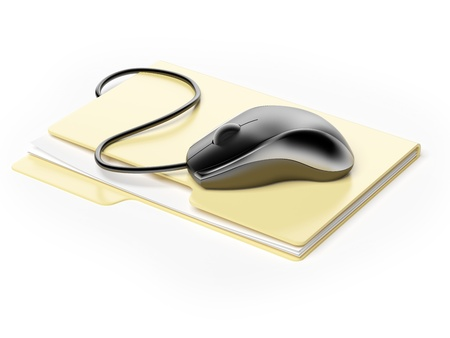 clouding: Computer mouse on folder