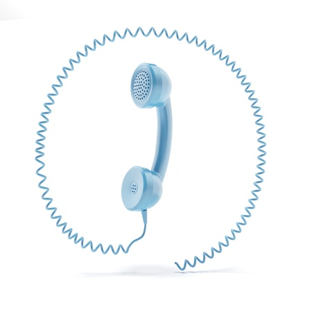 vintage handset with a spiral cable around it photo