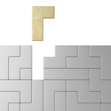 connection block: Concept of tetris game with golden shape Stock Photo