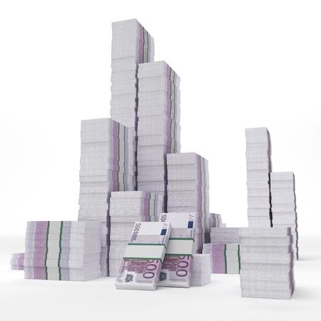 billets euros: Stacks d'euros Banque d'images