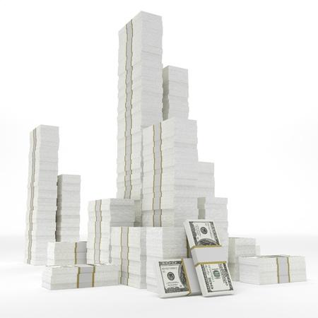 dollar bills: Stacks of dollars on white background