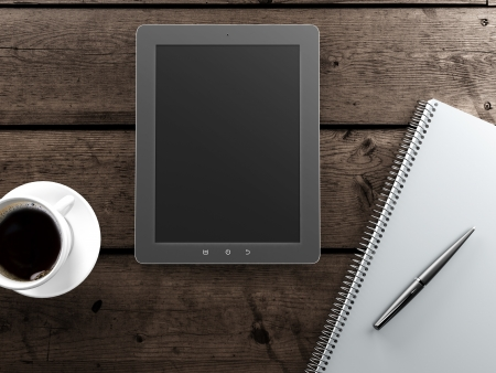 paper screens: empty tablet and a cup of coffee on the desk  Stock Photo