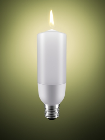 wax candle into lighting bulb photo