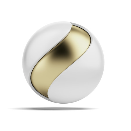 Abstract ball with wave shape isolated on a white background photo