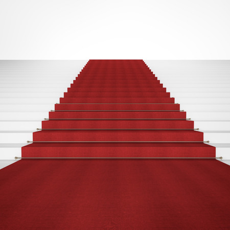 red carpet background: Stairs with red carpet  isolated on a white background Stock Photo